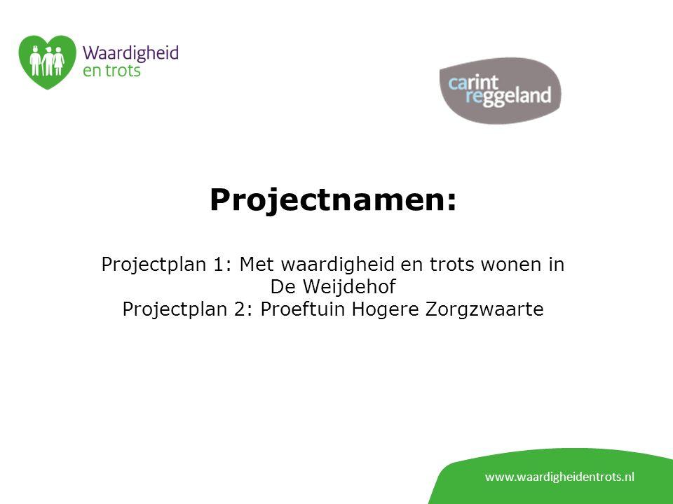 www.waardigheidentrots.nl Projectnamen: Projectplan 1: Met waardigheid en trots wonen in De Weijdehof Projectplan 2: Proeftuin Hogere Zorgzwaarte