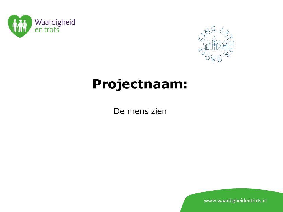 www.waardigheidentrots.nl Projectnaam: Ontwikkelen van dé nieuwe standaard voor verhuizen naar een verpleeghuis in Nederland
