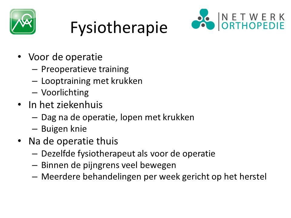 Fysiotherapie Voor de operatie – Preoperatieve training – Looptraining met krukken – Voorlichting In het ziekenhuis – Dag na de operatie, lopen met kr