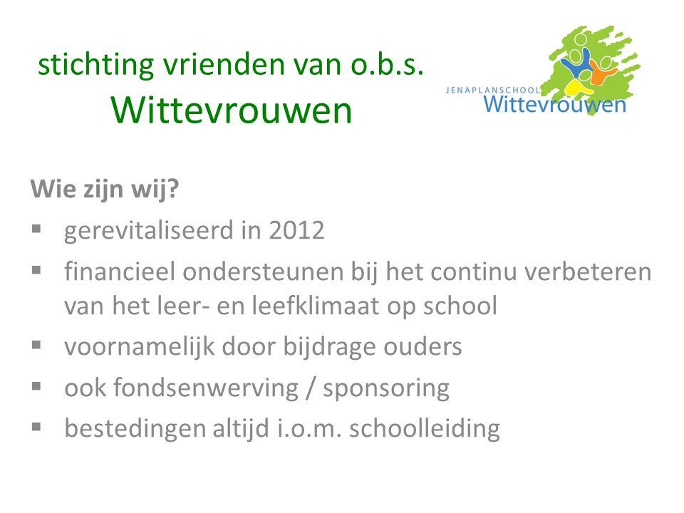stichting vrienden van o.b.s. Wittevrouwen Wie zijn wij?  gerevitaliseerd in 2012  financieel ondersteunen bij het continu verbeteren van het leer-