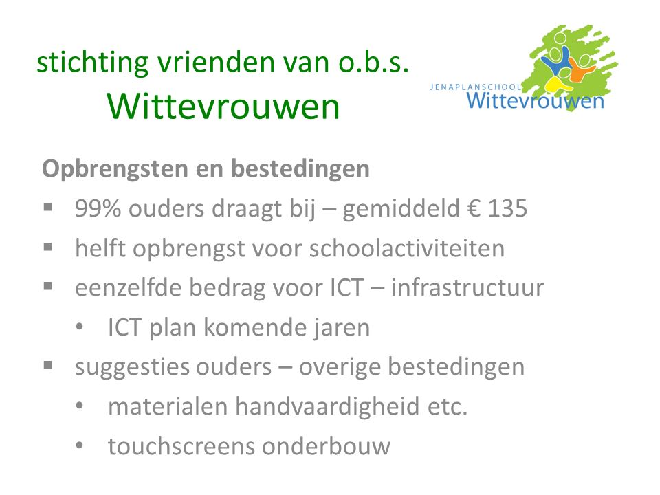 Opbrengsten en bestedingen  99% ouders draagt bij – gemiddeld € 135  helft opbrengst voor schoolactiviteiten  eenzelfde bedrag voor ICT – infrastru