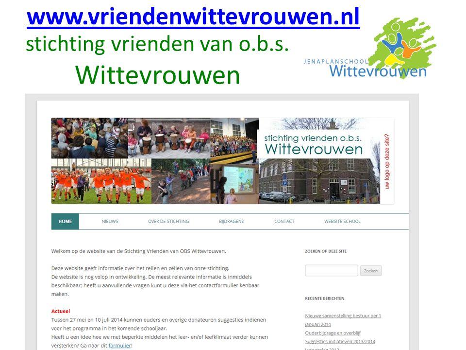 stichting vrienden van o.b.s. Wittevrouwen www.vriendenwittevrouwen.nl