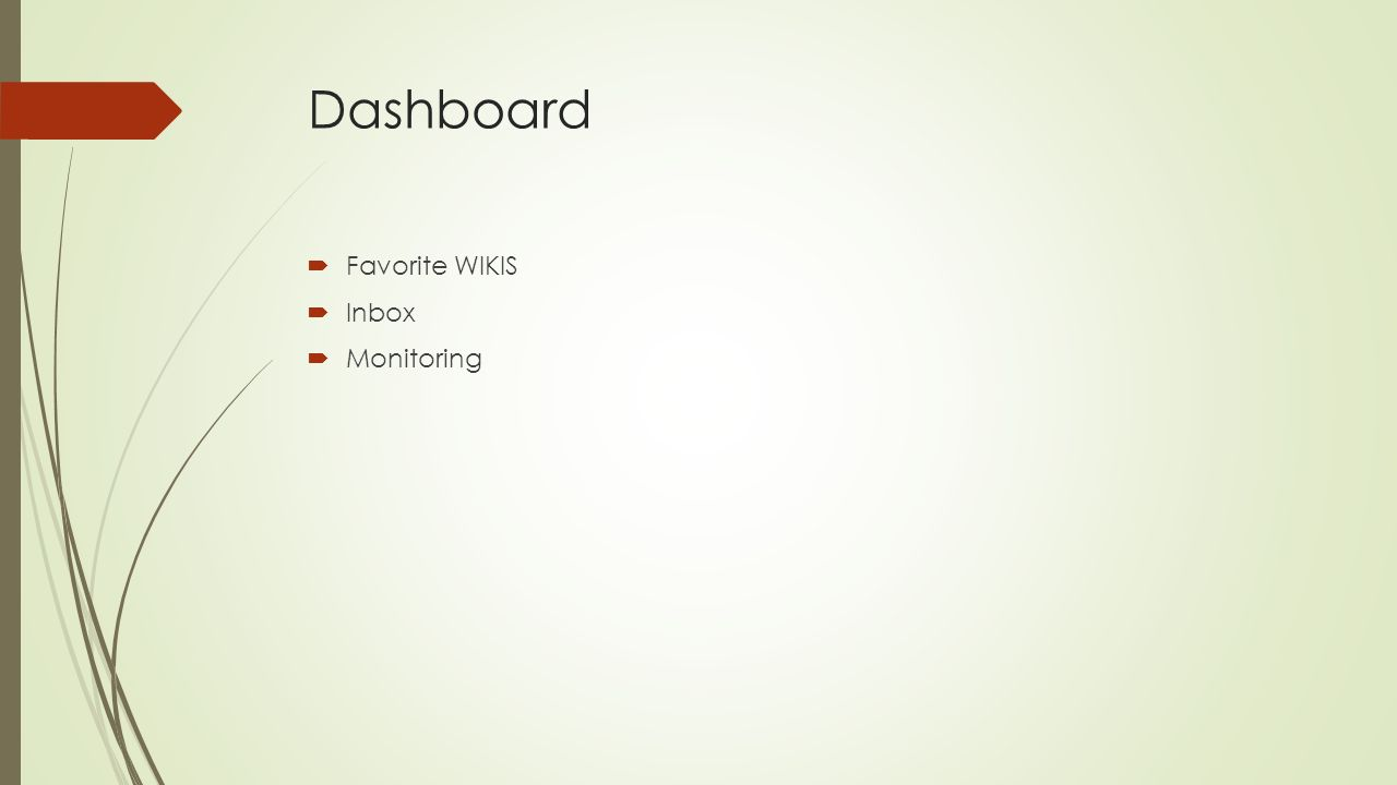 Dashboard  Favorite WIKIS  Inbox  Monitoring
