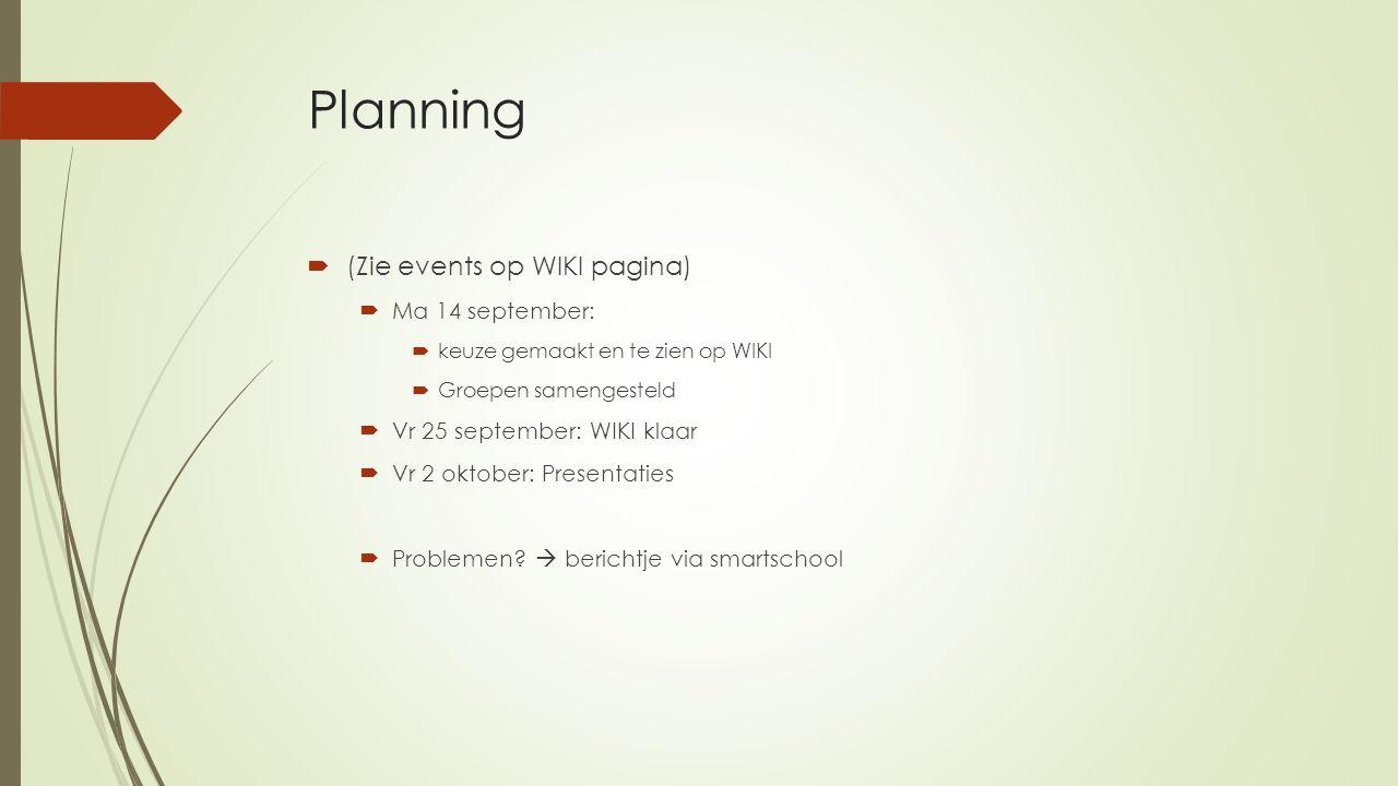 Planning  (Zie events op WIKI pagina)  Ma 14 september:  keuze gemaakt en te zien op WIKI  Groepen samengesteld  Vr 25 september: WIKI klaar  Vr 2 oktober: Presentaties  Problemen.