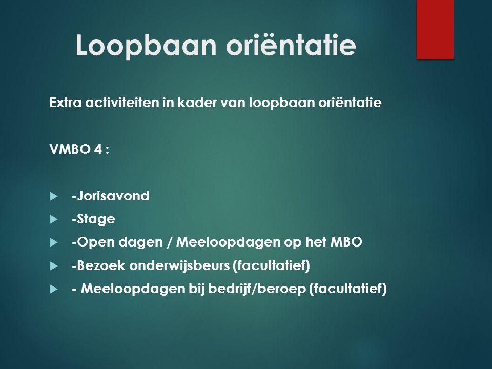 Loopbaan oriëntatie Extra activiteiten in kader van loopbaan oriëntatie VMBO 4 :  -Jorisavond  -Stage  -Open dagen / Meeloopdagen op het MBO  -Bez