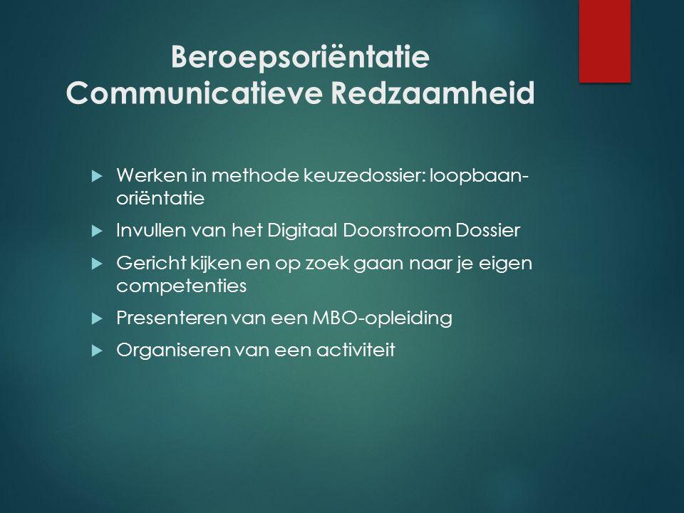 Beroepsoriëntatie Communicatieve Redzaamheid  Werken in methode keuzedossier: loopbaan- oriëntatie  Invullen van het Digitaal Doorstroom Dossier  G
