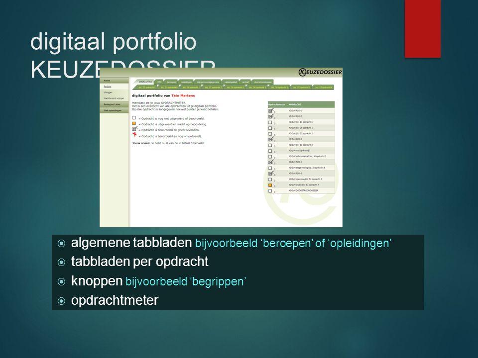 digitaal portfolio KEUZEDOSSIER  algemene tabbladen bijvoorbeeld 'beroepen' of 'opleidingen'  tabbladen per opdracht  knoppen bijvoorbeeld 'begripp