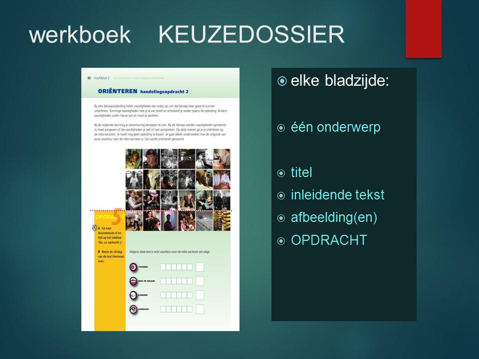 werkboek KEUZEDOSSIER  elke bladzijde:  één onderwerp  titel  inleidende tekst  afbeelding(en)  OPDRACHT
