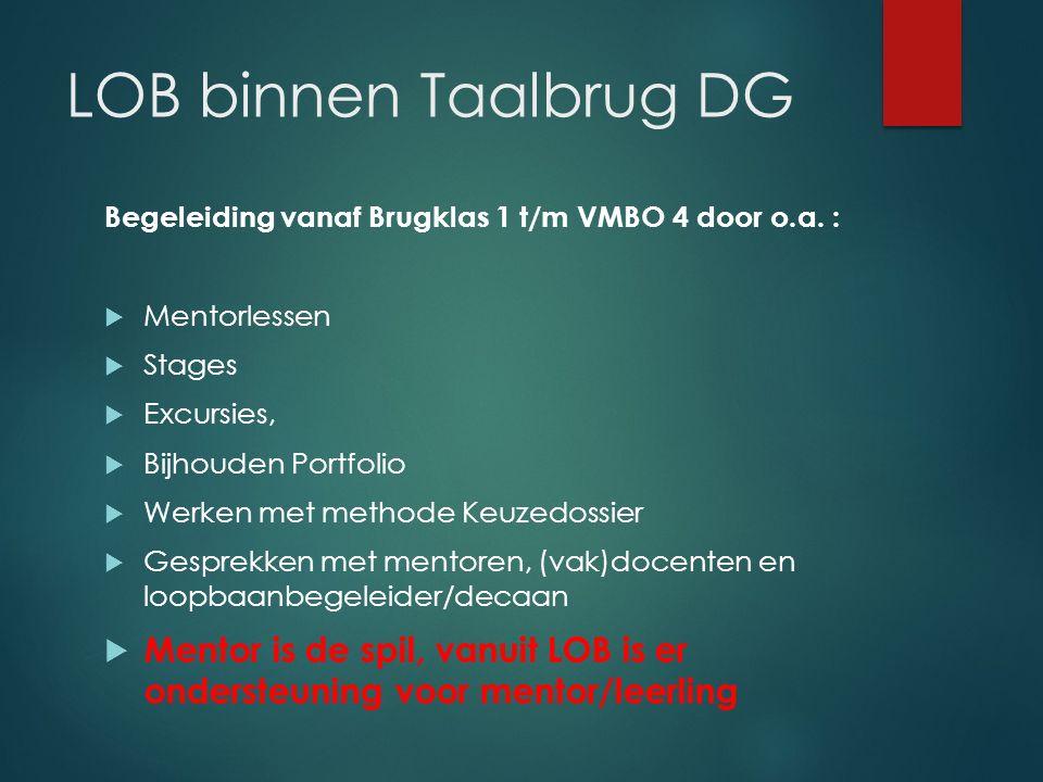 LOB binnen Taalbrug DG Begeleiding vanaf Brugklas 1 t/m VMBO 4 door o.a. :  Mentorlessen  Stages  Excursies,  Bijhouden Portfolio  Werken met met