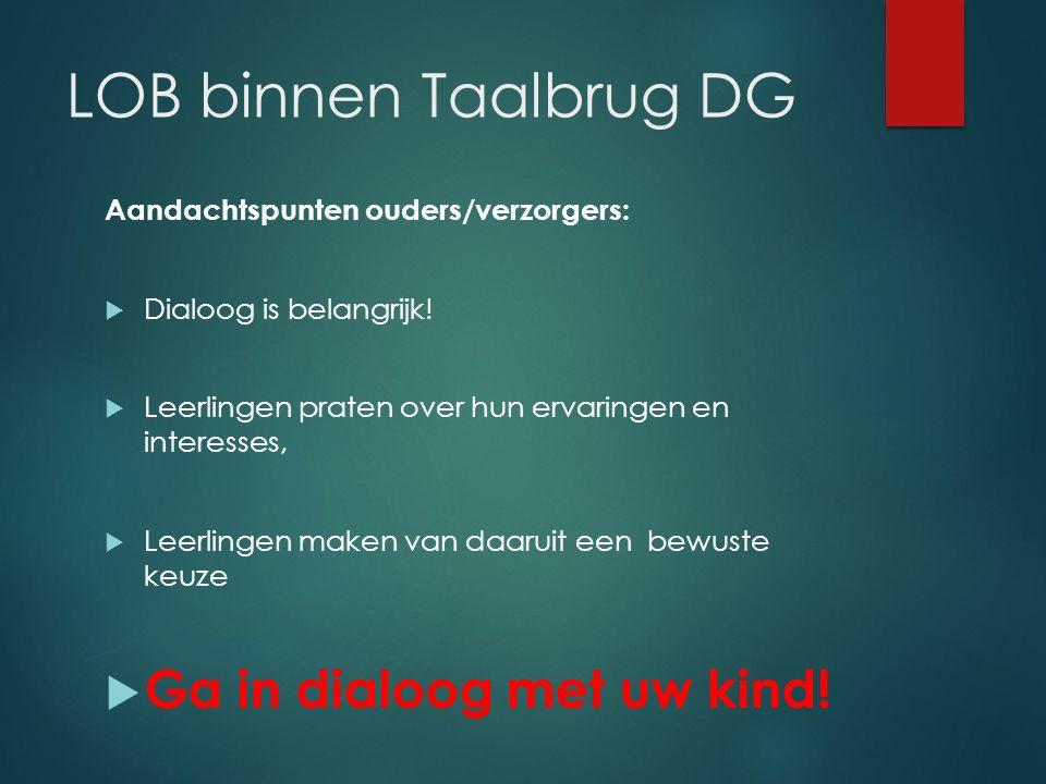 LOB binnen Taalbrug DG Aandachtspunten ouders/verzorgers:  Dialoog is belangrijk!  Leerlingen praten over hun ervaringen en interesses,  Leerlingen