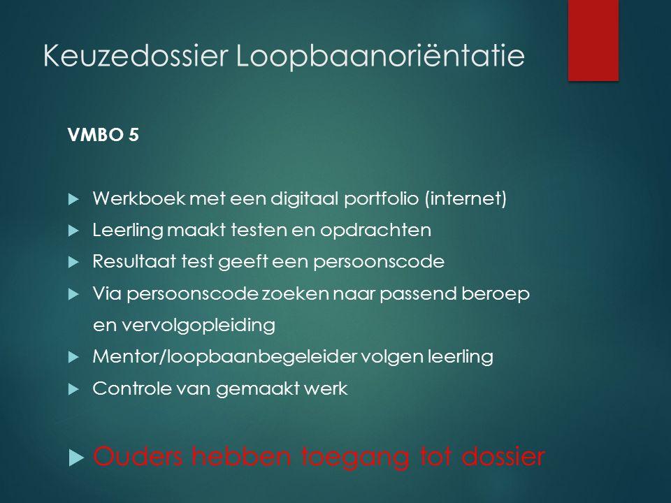 Keuzedossier Loopbaanoriëntatie VMBO 5  Werkboek met een digitaal portfolio (internet)  Leerling maakt testen en opdrachten  Resultaat test geeft e