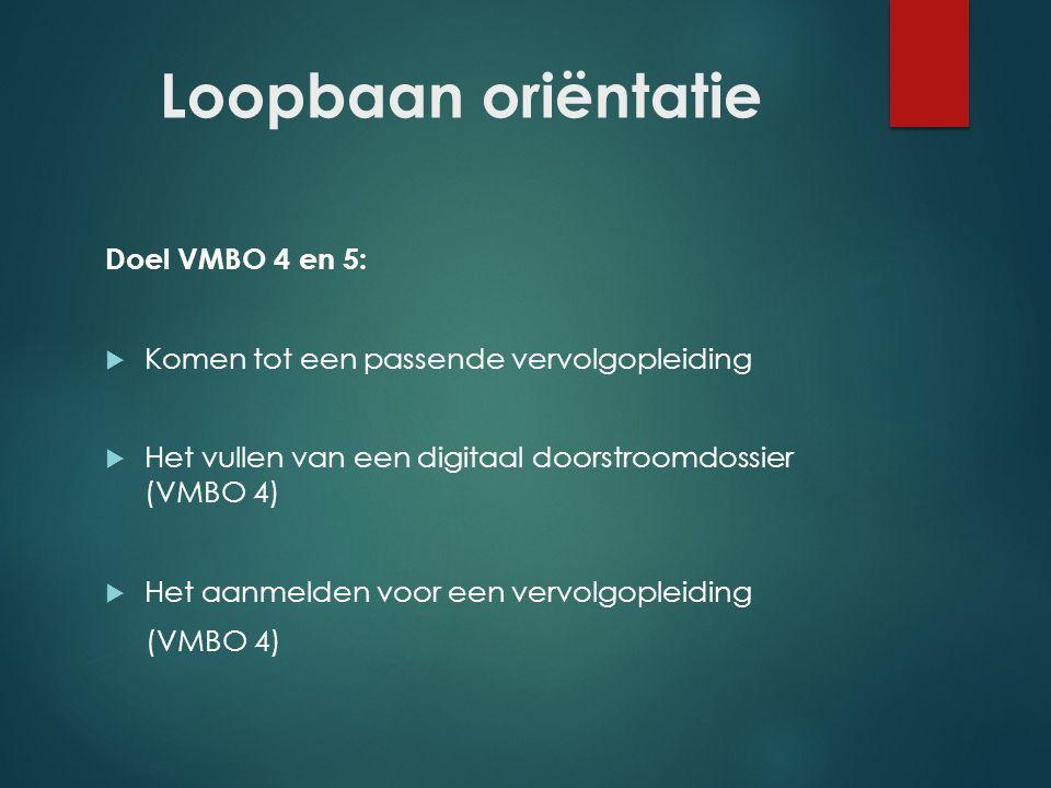 Loopbaan oriëntatie Doel VMBO 4 en 5:  Komen tot een passende vervolgopleiding  Het vullen van een digitaal doorstroomdossier (VMBO 4)  Het aanmeld