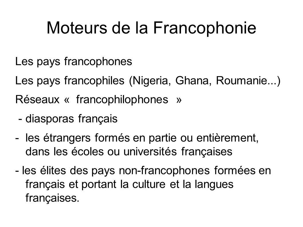 Moteurs de la Francophonie Les pays francophones Les pays francophiles (Nigeria, Ghana, Roumanie...) Réseaux « francophilophones » - diasporas françai