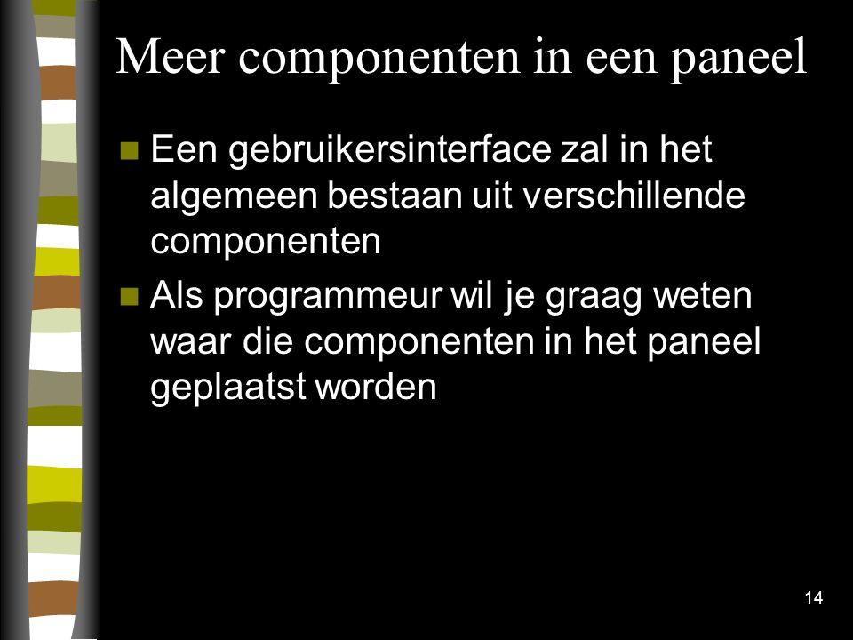 14 Meer componenten in een paneel Een gebruikersinterface zal in het algemeen bestaan uit verschillende componenten Als programmeur wil je graag weten