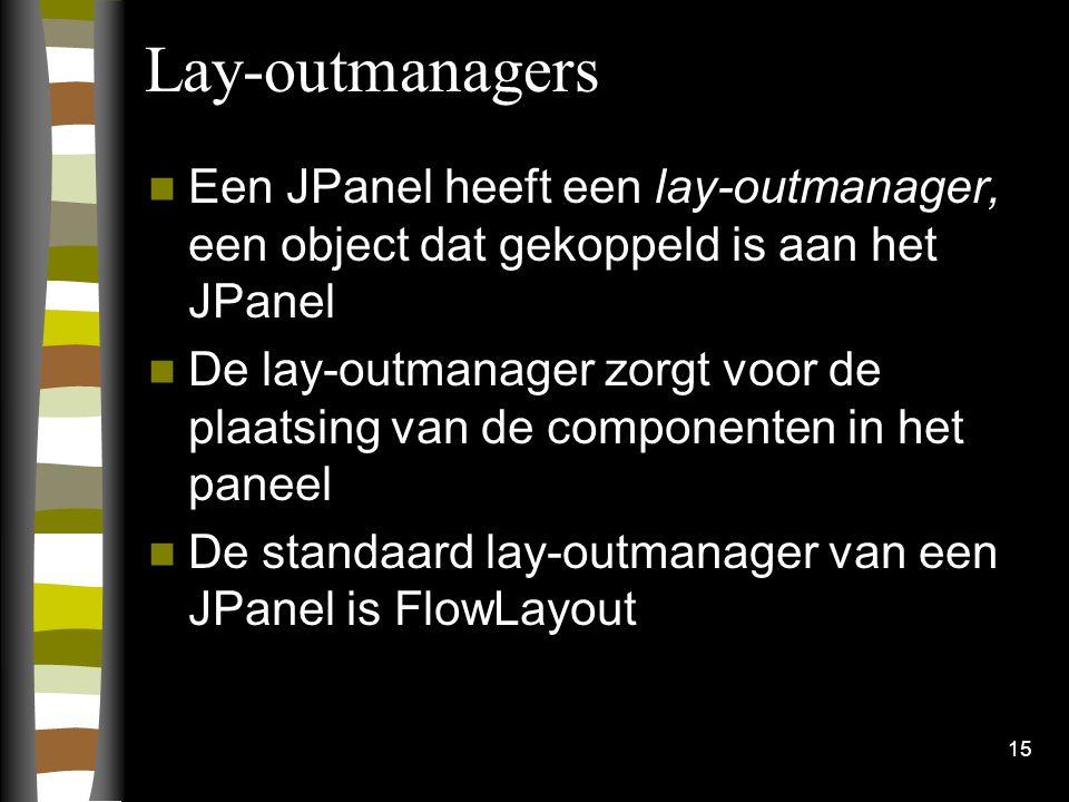 15 Lay-outmanagers Een JPanel heeft een lay-outmanager, een object dat gekoppeld is aan het JPanel De lay-outmanager zorgt voor de plaatsing van de co