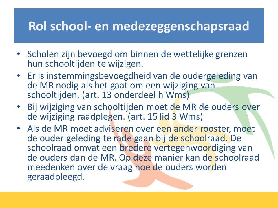 Rol school- en medezeggenschapsraad Scholen zijn bevoegd om binnen de wettelijke grenzen hun schooltijden te wijzigen.