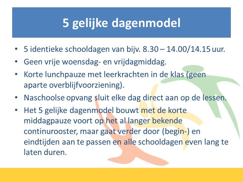 5 gelijke dagenmodel 5 identieke schooldagen van bijv.