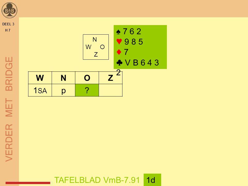 DEEL 3 H 7 N W O Z TAFELBLAD VmB-7.911d WNOZ 1 SA p? ♠ 7 6 2 ♥ 9 8 5 ♦ 7 ♣ V B 6 4 3 2