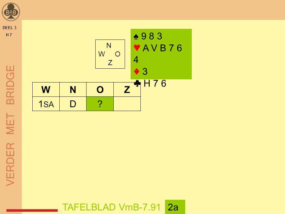 DEEL 3 H 7 N W O Z TAFELBLAD VmB-7.912a WNOZ 1 SA D? ♠ 9 8 3 ♥ A V B 7 6 4 ♦ 3 ♣ H 7 6