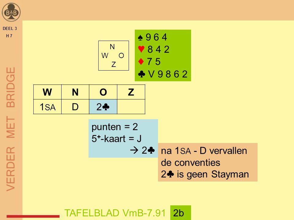 DEEL 3 H 7 N W O Z TAFELBLAD VmB-7.912b WNOZ 1 SA D2♣2♣ punten = 2 5 + -kaart = J  2♣ ♠ 9 6 4 ♥ 8 4 2 ♦ 7 5 ♣ V 9 8 6 2 na 1 SA - D vervallen de conventies 2♣ is geen Stayman
