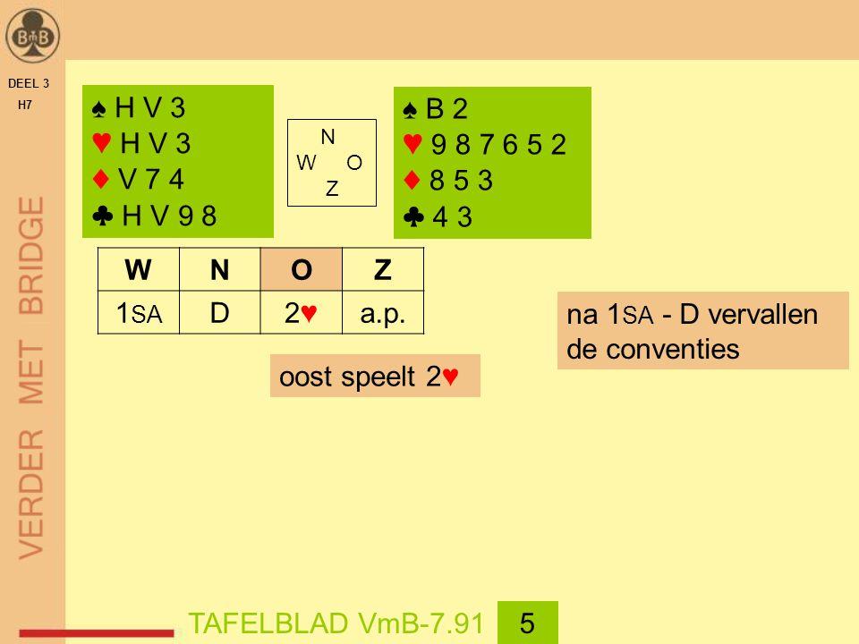 DEEL 3 H7 ♠ H V 3 ♥ H V 3 ♦ V 7 4 ♣ H V 9 8 N W O Z ♠ B 2 ♥ 9 8 7 6 5 2 ♦ 8 5 3 ♣ 4 3 oost speelt 2♥ TAFELBLAD VmB-7.915 WNOZ 1 SA D2♥2♥a.p.