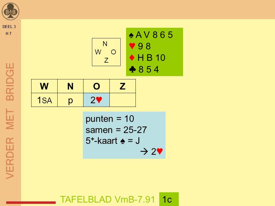 DEEL 3 H 7 N W O Z TAFELBLAD VmB-7.911c WNOZ 1 SA p2♥2♥ ♠ A V 8 6 5 ♥ 9 8 ♦ H B 10 ♣ 8 5 4 punten = 10 samen = 25-27 5 + -kaart ♠ = J  2♥