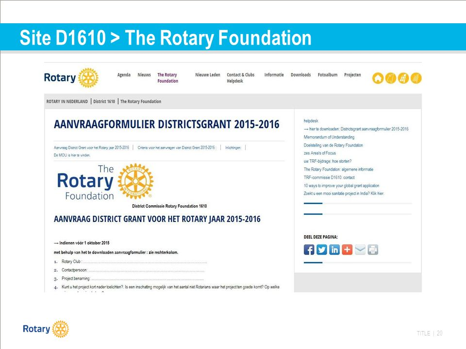 TITLE | 20 Site D1610 > The Rotary Foundation
