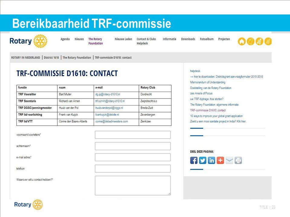 TITLE | 23 Bereikbaarheid TRF-commissie