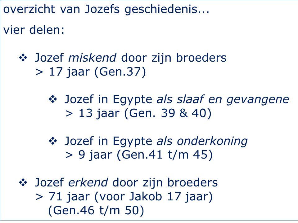 overzicht van Jozefs geschiedenis...