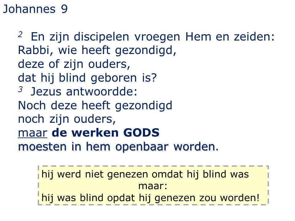 Johannes 9 2 En zijn discipelen vroegen Hem en zeiden: Rabbi, wie heeft gezondigd, deze of zijn ouders, dat hij blind geboren is.