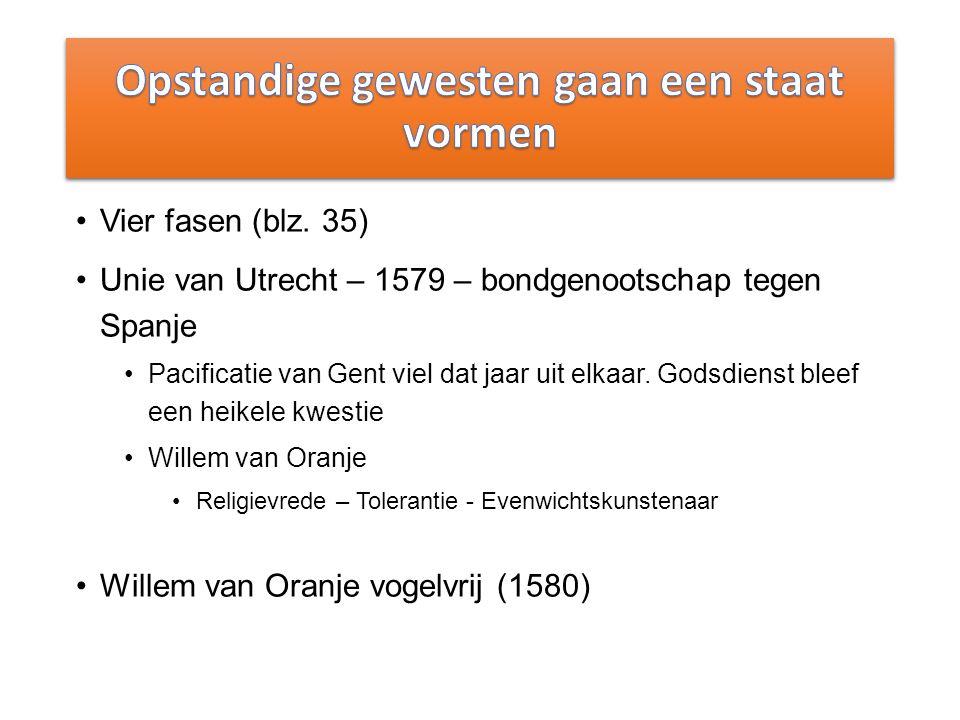 Vier fasen (blz. 35) Unie van Utrecht – 1579 – bondgenootschap tegen Spanje Pacificatie van Gent viel dat jaar uit elkaar. Godsdienst bleef een heikel