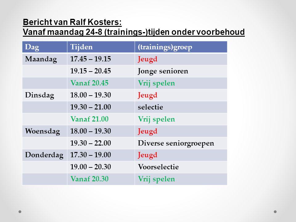 DagTijden(trainings)groep Maandag17.45 – 19.15Jeugd 19.15 – 20.45Jonge senioren Vanaf 20.45Vrij spelen Dinsdag18.00 – 19.30Jeugd 19.30 – 21.00selectie Vanaf 21.00Vrij spelen Woensdag18.00 – 19.30Jeugd 19.30 – 22.00Diverse seniorgroepen Donderdag17.30 – 19.00Jeugd 19.00 – 20.30Voorselectie Vanaf 20.30Vrij spelen Bericht van Ralf Kosters: Vanaf maandag 24-8 (trainings-)tijden onder voorbehoud