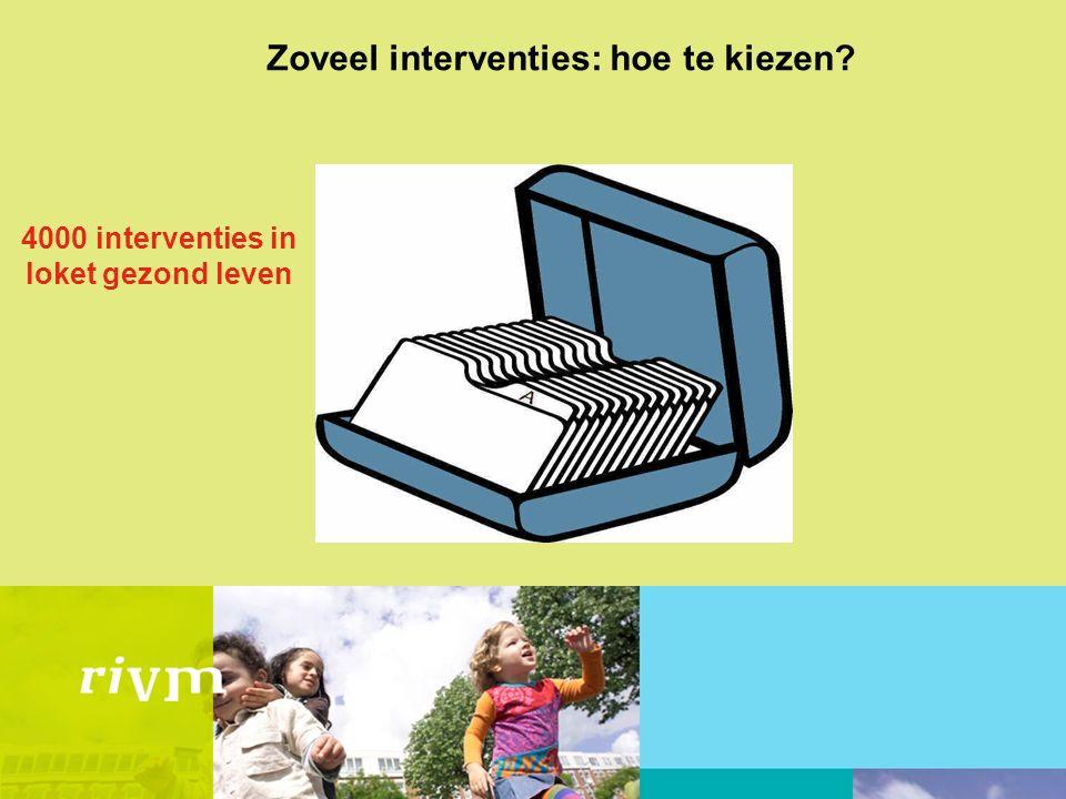 Zoveel interventies: hoe te kiezen 4000 interventies in loket gezond leven