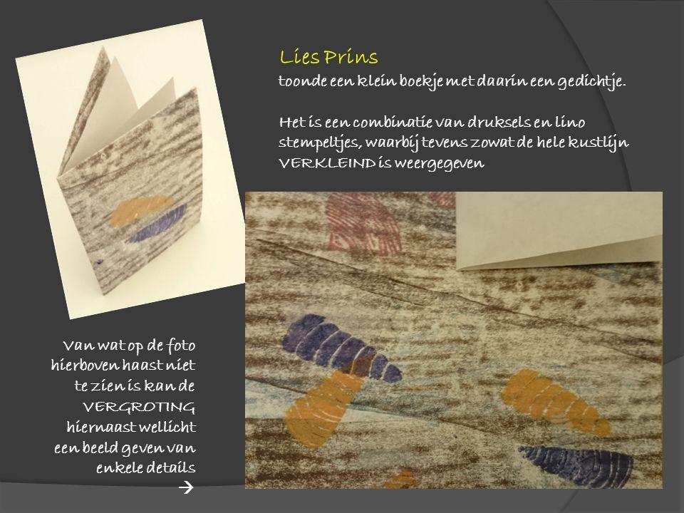 Lies Prins toonde een klein boekje met daarin een gedichtje.