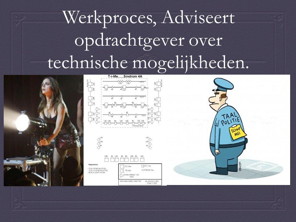 Werkproces, Adviseert opdrachtgever over technische mogelijkheden.