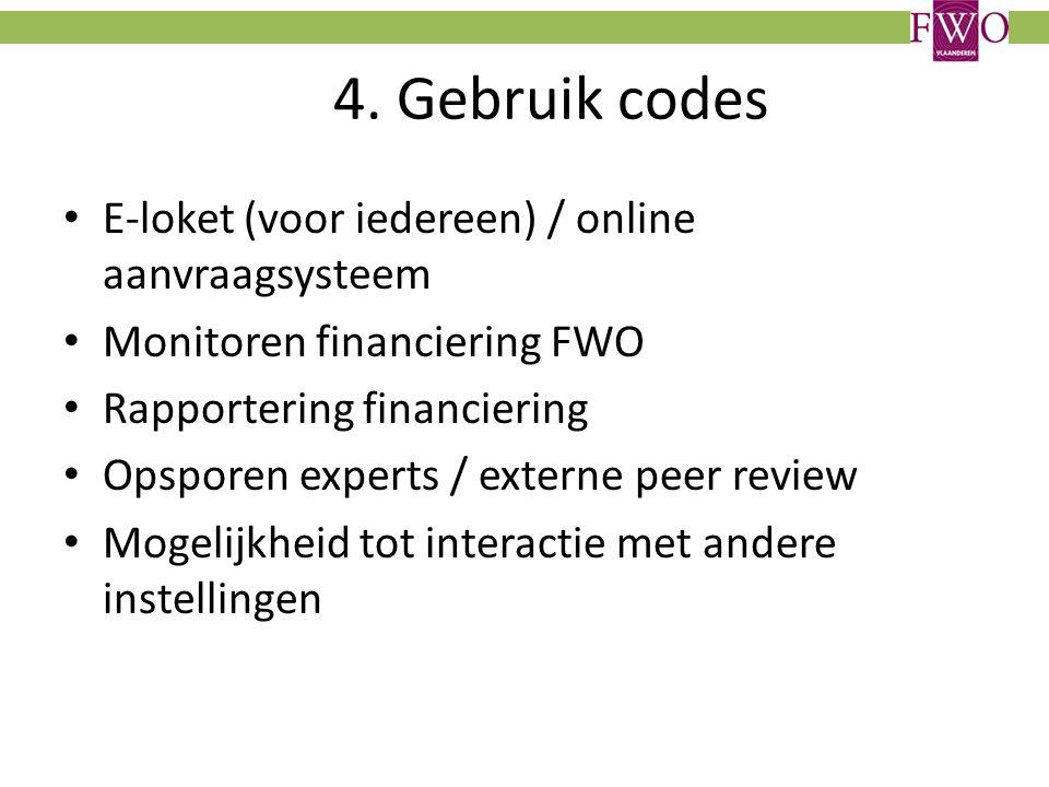 4. Gebruik codes E-loket (voor iedereen) / online aanvraagsysteem Monitoren financiering FWO Rapportering financiering Opsporen experts / externe peer