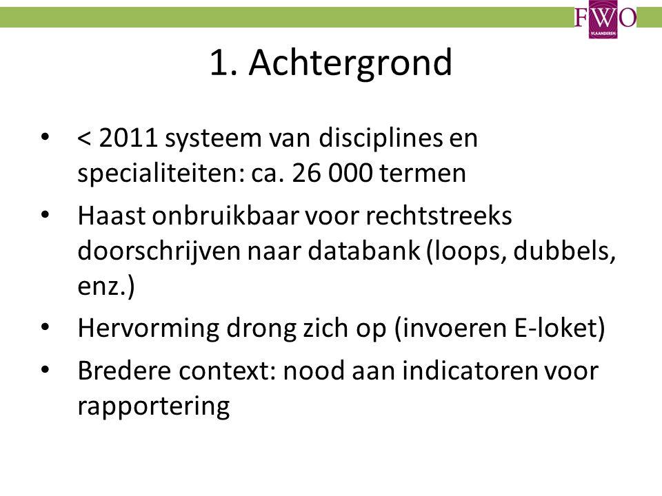 1. Achtergrond < 2011 systeem van disciplines en specialiteiten: ca.