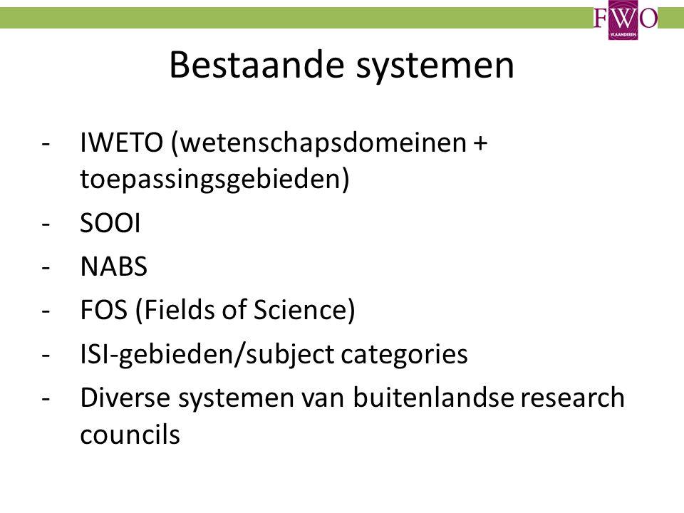 Bestaande systemen -IWETO (wetenschapsdomeinen + toepassingsgebieden) -SOOI -NABS -FOS (Fields of Science) -ISI-gebieden/subject categories -Diverse systemen van buitenlandse research councils