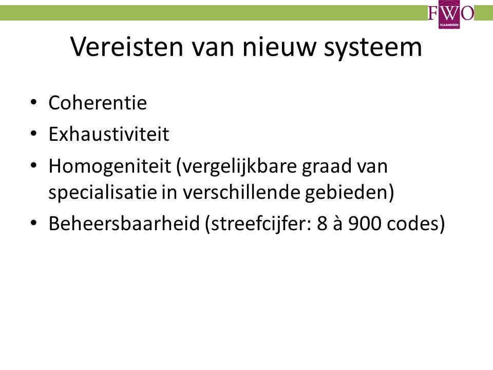 Vereisten van nieuw systeem Coherentie Exhaustiviteit Homogeniteit (vergelijkbare graad van specialisatie in verschillende gebieden) Beheersbaarheid (streefcijfer: 8 à 900 codes)