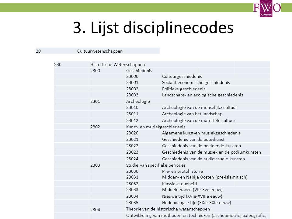 3. Lijst disciplinecodes 230Historische Wetenschappen 2300Geschiedenis 23000Cultuurgeschiedenis 23001Sociaal-economische geschiedenis 23002Politieke g