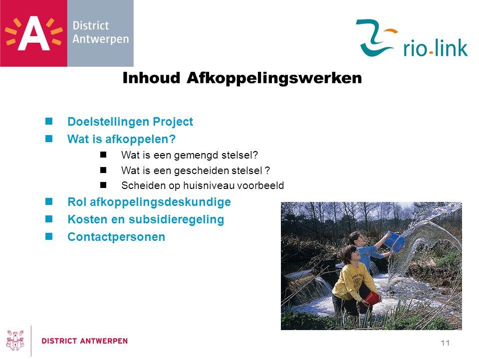 Inhoud Afkoppelingswerken Doelstellingen Project Wat is afkoppelen.