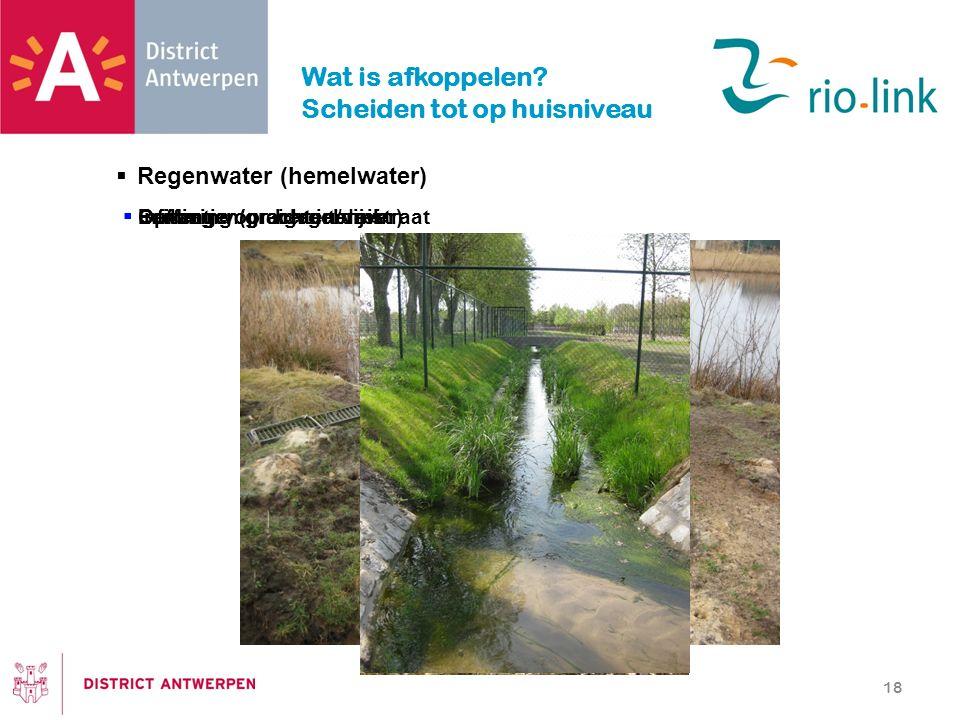  Regenwater (hemelwater) 18 Wat is afkoppelen? Scheiden tot op huisniveau  Infiltratie op eigen terrein  Buffering (grachten/vijver)  Leidingen/gr