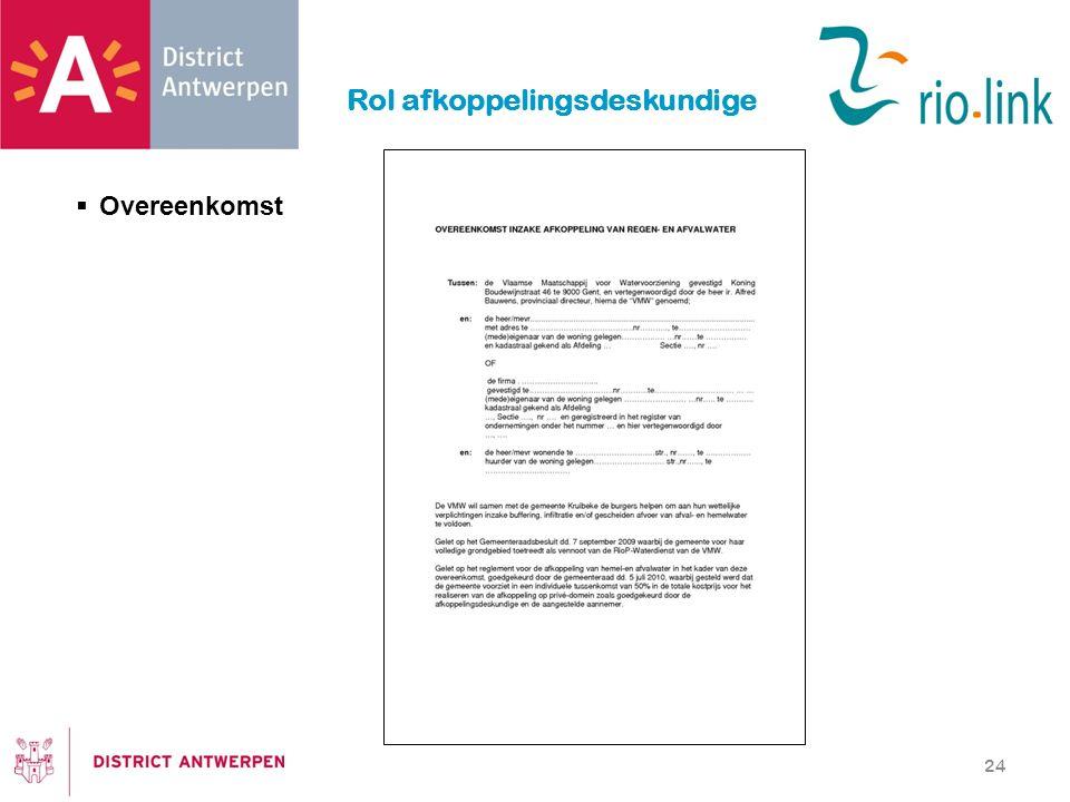 Rol afkoppelingsdeskundige 24  Overeenkomst