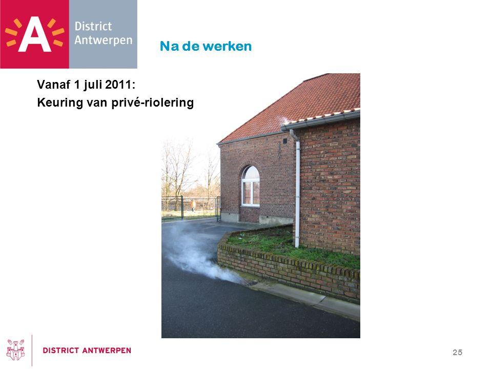 Na de werken 25 Vanaf 1 juli 2011: Keuring van privé-riolering