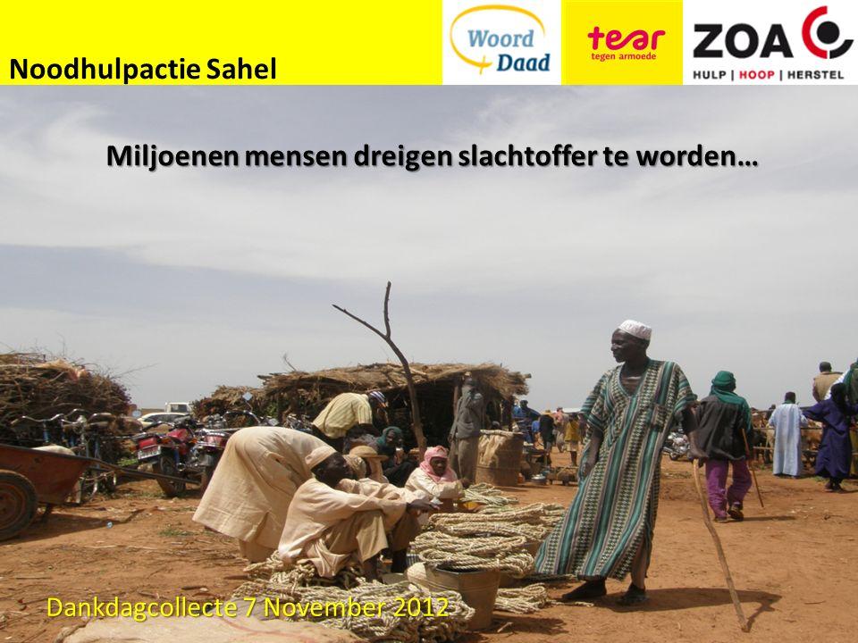 Noodhulpactie Sahel Miljoenen mensen dreigen slachtoffer te worden… Dankdagcollecte 7 November 2012