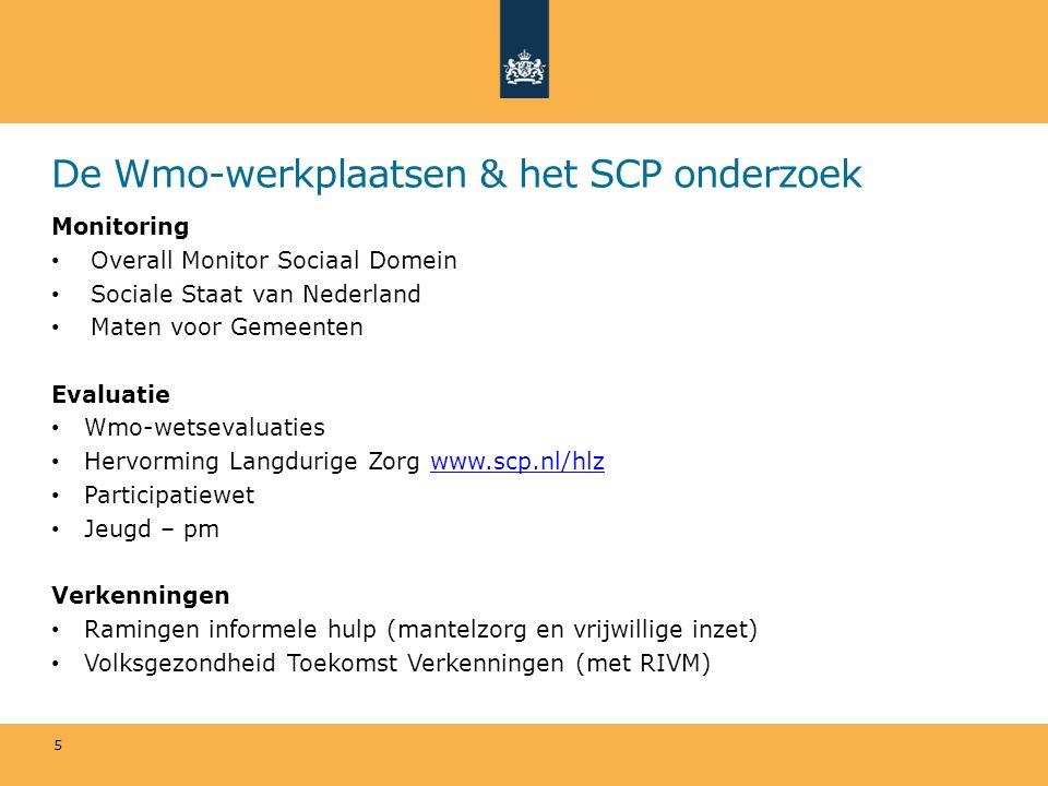 De Wmo-werkplaatsen & het SCP onderzoek Monitoring Overall Monitor Sociaal Domein Sociale Staat van Nederland Maten voor Gemeenten Evaluatie Wmo-wetsevaluaties Hervorming Langdurige Zorg www.scp.nl/hlzwww.scp.nl/hlz Participatiewet Jeugd – pm Verkenningen Ramingen informele hulp (mantelzorg en vrijwillige inzet) Volksgezondheid Toekomst Verkenningen (met RIVM) 5