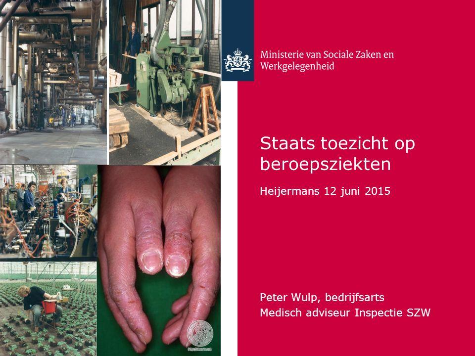 Staats toezicht op beroepsziekten Heijermans 12 juni 2015 Peter Wulp, bedrijfsarts Medisch adviseur Inspectie SZW