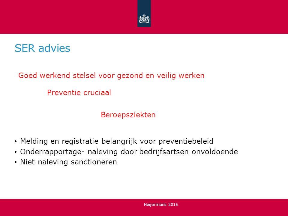 SER advies Beroepsziekten Melding en registratie belangrijk voor preventiebeleid Onderrapportage- naleving door bedrijfsartsen onvoldoende Niet-nalevi