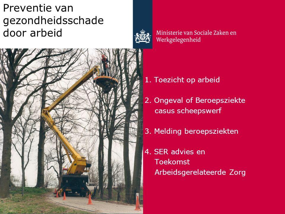 1. Toezicht op arbeid 2. Ongeval of Beroepsziekte casus scheepswerf 3. Melding beroepsziekten 4. SER advies en Toekomst Arbeidsgerelateerde Zorg Preve