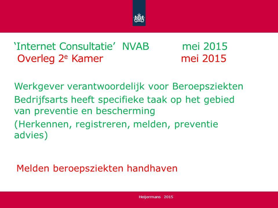 'Internet Consultatie' NVAB mei 2015 Overleg 2 e Kamer mei 2015 Werkgever verantwoordelijk voor Beroepsziekten Bedrijfsarts heeft specifieke taak op h